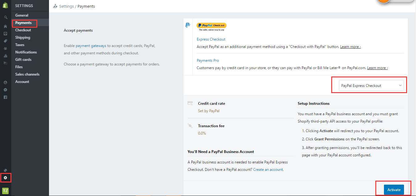Shopify店铺后台Paypal收款设置详解