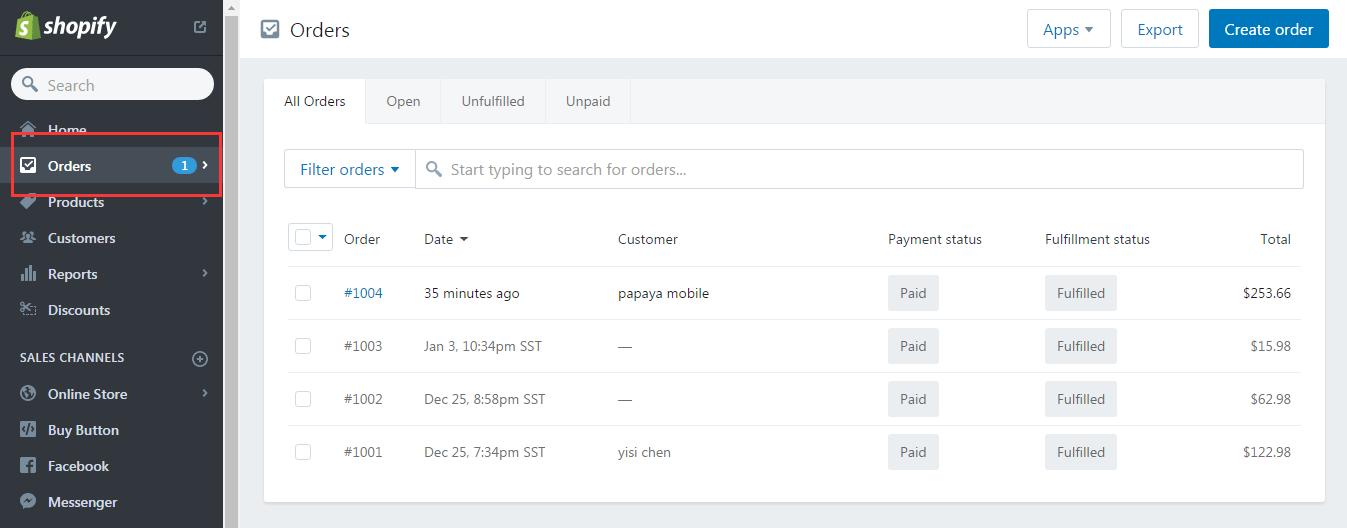 如何履行Shopify订单