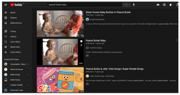 """YouTube 搜索算法""""花生酱宝贝"""""""